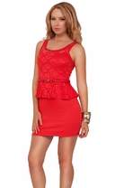 Scoop Neck Fitted Stretchy Lace Peplum With Skinny Bow Tie Belt Mini Short Dress