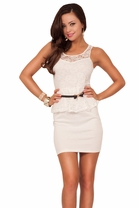 Scoop Neck Fitted Stretchy Lace Peplum With Skinny Bow Tie Belt Sexy Short Dress