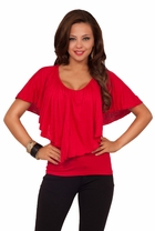 Scoop Neck Flounce Butterfly Sleeved Casual Jersey Dressy Trendy Tee Shirt