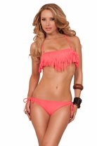 Scoop Neck Halter Fringes Low Waist Bottom Two Piece Bikini Swimsuit Swimwear