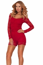 Scoop Neck Long Sleeve Lace Peak-a-boo Back Mini Short Shorts Rompers Overalls