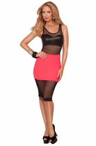 Scoop Neck Mesh Top Leatherette Sweetheart Fitted Knee Length Evening Mini Dress