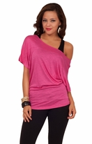Scoop Neck Short Sleeve Off Shoulder Loosley Fitted Casual Jersey Tee Shirt