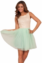 Scoop Neck Sleeveless Tutu Sequin Bodice Tulle Party Holiday Mini Dress