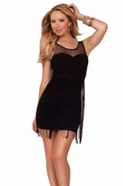 Scoop Neck V-back Sheer Straps 20's Vintage Inspired Flapper Mini Party Dress