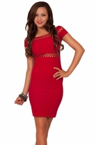 Seamless Cap Sleeve Middriff Cutouts Scoop Neck Thigh High Mini Club Dress