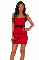 Seductive Night Out Peplum Strapless with Accent Colored Lining Tube Top Dress