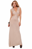 Semi Cap Sleeve V-neck X-strap Cut Out Panel Slit Elegant Comfy Maxi Long Dress