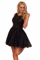 Sequin Mesh Sheer Empire Waist Knee High Layer Pleated Party Cocktail Dress