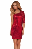 Sequin One Strap Knee High Party Special Occasion Evening Cocktail Party Dress