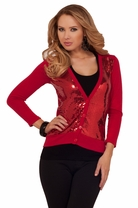Sequin Panel Button Sweather Holiday Winter Blazer Fitted Bolero Cardigan