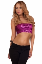 Sequin Sexy Stretchy Fitted Party Clubwear Fun Bandeau Tube Crop Top