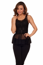 Sequins Lace Overlay Evening Peplum Fitted Flare Round Neck Sexy Tank Top