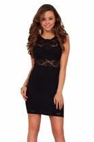 Sexy Black Lace Mini Bodycon Cutout Panel Cocktail Fitted Elegant Holiday Dress