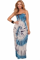 Sexy Boho Strapless Long Tube Colorful Batik Tiedye Summer Spring Maxi Dress