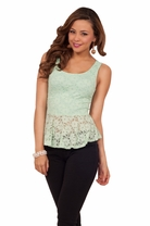 Sexy Chiffon Bow Back Lace Overlay Sweet Flirty Peplum Trendy Party Tank Top