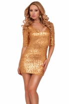 Sexy Diva Half Sleeve Fitted Sequins Clubwear Evening Cocktail Party Mini Dress