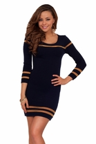 Sexy Gold Trim Long Sleeved Mini Short Winter Elegant Sweater Fitted Dress