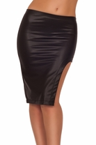 Sexy Leatherette Black Cocktail High Slit Style Trendy Textured Pencil Skirt