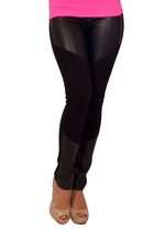 Sexy Leatherette Panel Tights Fitted Trendy Pants Jeggings Stretchy Leggings