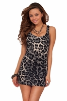 Sexy Leopard Bodycon Sleeveless Fitted Cocktail Club Wear Night Mini Dress