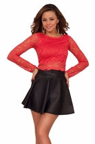 Sexy Long Sleeve Floral Lace Scallop Hem Party Clubwear Round Neck Crop Top