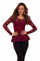 Sexy Long Sleeve Soft Lace Overlay Sweet Flirty Peplum Trendy Party Shirt