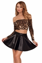 Sexy Long Sleeved Leopard Fashion Round Neckline Silky Off Shoulder Crop Top