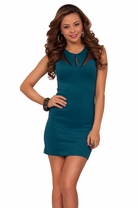 Sexy Mesh Inset Cocktail Clubwear Fitted Bodycon Party Mini Nightwear Dress