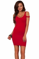 Sexy Perforated CutOut Details Bare Shouldered Sleeveless Ruched Seamless Dress