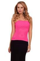 Sexy Perforated Detail Seamless Bodycon Tube Style Fitted Active Wear Casual Top
