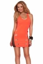 Sexy Sleeveless X-strap Back Sheer Panel Laser Cut Stars Fitted Clubwear Dress
