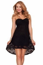 Sexy Strapless Bandeau Sweetheart Pull Up Lace Empire Waist High Low Short Dress