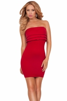 Sexy Strapless Ruffled Tiers Bodice Slip-On Fitted Bodycon Seamless Mini Dress