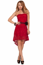 Sexy Strapless Sequin High Low Sheer Flowy Homecoming Formal Sweet Party Dress