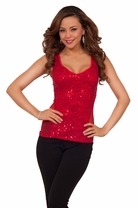Sexy Stunning Sequin Mesh Panel Party Holiday Evening Fitted V Neck Tank Top