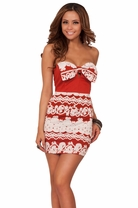 Sexy Tube Top Mini Elegant Sweetheart Party Bow Fitted Trendy Embossed Dress
