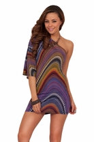 Sexy Wide Sleeve Multi Colored Print One Shoulder Mini Bodycon Hippy Dress
