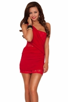 Sexy Women's One Shoulder Ruched Lace Fitted Cocktail Bridesmaid Mini Dress