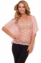Sheer Lace Mesh Drop Hanging Sleeve See-through Evening Cocktail Party Tunic Top