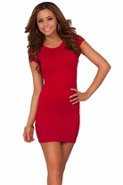 Short Sexy Seamless Crochet Lace Mini Fitted Bodycon Party Textured Dress
