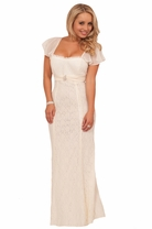 Short Sleeve Empire Waist Lace Overlay Full Length Wedding Bridal Gown