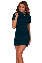 Short Sleeve Mini Sexy Button Fitted Tight Winter Season Evening Sweater Dress