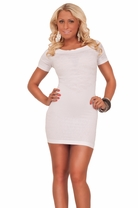 Short Sleeve Off Shoulder Textured Fitted Hot Clubwear Party Slip On Mini Dress