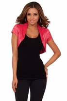 Short Sleeve Satin Business Tailored Fitted Casual Sophisticated Shrug Bolero