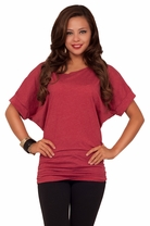 Short Sleeved Scooped Neck Off Shoulder Casual Ruched Sides Tunic Top T-Shirt