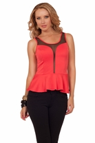 Short Sleeveless Peplum Waist Sheer Mesh Panel Sexy Evening Clubwear Chic Top