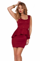 Sleeveless Classic Cocktail Fitted Party Peplum Pencil Skirt Holiday Dress