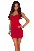 Sleeveless Cut Out Ruched Cross Strap Evening Clubwear Fitted Party Mini Dress