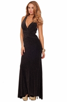 Sleeveless Deep V-neck Bare X-strap Back Ruched Hips Slit Textured Evening Gown
